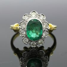 18ct Gold Emerald & Diamond oval cluster ring 1ct Emerald