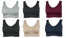 2er Pack Damen Seamless BH mit Spitze Bustier Top Shirt Einlage Pad gepolstert