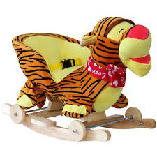 Musical Plush Tiger Rocking Horse Animal Baby Rocker Ride On Toy Wheels Sound