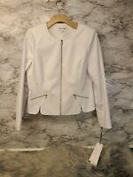 Calvin Klein Women's Petite White Ivory Blazer Jacket Size 12P Button #B10