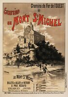 Affiche Originale - Fraipont Gustave - Mont st Michel - Normandie - Pêche - 1895