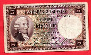 LANDSBANKI ISLANDS 1928 ICELAND FIVE KRONUR BANKNOTE. 5K NOTE. USED CONDITION.