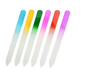 6Pcs Double-sided  Glass Finger Nail File with Case Pedicure Fingernail File US