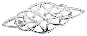 Elements 48mm Wide 925 Polished Sterling Silver Ladies Open Celtic Knot Brooch