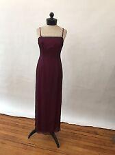Tahari Long Gown Evening Dress Silk Chiffon Black Netting Over dress Maroon Red