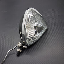 Motorcycle Black Triangle Headlight Lamp Flat Back F Harley Honda Suzuki Custom
