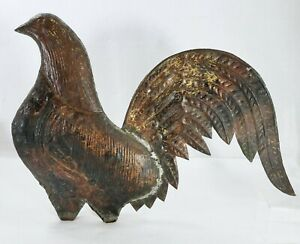 Antique Gilt Copper Weathervane Rooster  Fighting Cock