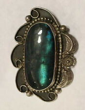 Signed  Vintage Old Pawn Native American Sterling Silver Labradorite Pendant