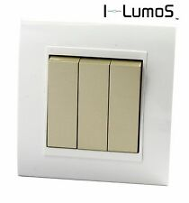 I LumoS AS White Plastic Arc & Gold 13A UK Single/Double Socket & Light Switches