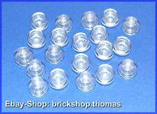 Lego 20 x Platte rund Transparent  klar (1 x 1) - 4073 - Plate, Round  - NEU/NEW