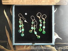 Sparkly peridot GREEN EARRINGS deco dice beads Swarovski crystal  A. Borealis GP