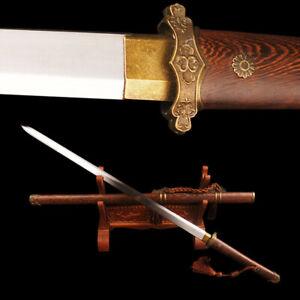 Tang Dynasty Jian Chinese Sword Rosewood Handle Saya High Carbon Steel Blade