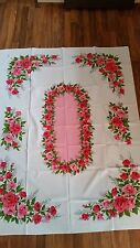 "Vintage Unused Shabby Pink Floral Rose Chic Linen Tablecloth  52"" x 66"""