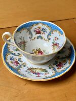 "RARE GROSVENOR CHINA PORCELAIN BLUE TEA CUP & SAUCER ""RUTLAND"" COUNTRY 1960s"