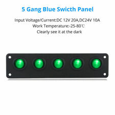 5 Enchufe On Off Verde LED Toggle Balancín Interruptor Panel Coche Botes Marino