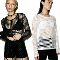 Womens Fishnet High Neck Blouse Lady See Through Tops Long Sleeve Shirt Clubwear