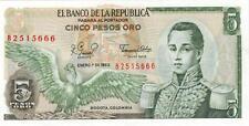 A SAISIR     BILLET  5  PESOS   COLOMBIE     NEUF   1980      !!!!    UNC .