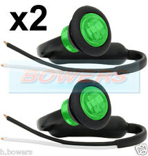 2x 12V/24V GREEN SMALL ROUND LED BUTTON MARKER LAMPS/LIGHTS UNIVERSAL MARINE CAR
