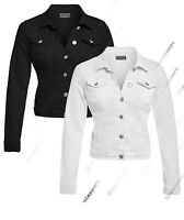 NEW DENIM JACKET Women Jeans Waist Stretch Jackets Black White Size 8 10 12 14