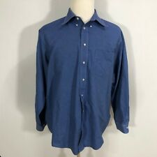 Arrow Men Button Down Dress Shirt Size 17 1/2 36/37 Solid Blue Wrinkle Free C157
