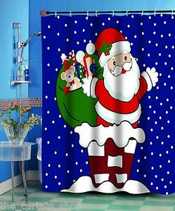 SANTA CLAUS UP ON THE ROOFTOP Christmas Fabric Shower Curtain 70 x 72""
