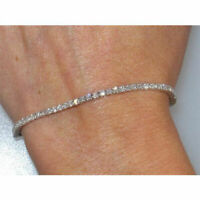 14K White Gold 5 Carat White Round Diamond Party Wear Tennis Bracelet Women's