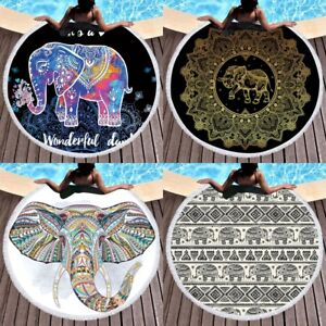 Mandala Beach Towel Elephant Round Tapestry Hippie Throw Yoga Mat Indian Blanket