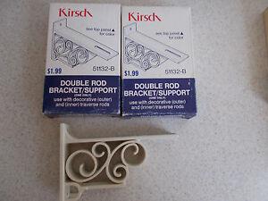RETRO Vintage Kirsch Double DECORATIVE DRAPERY ROD bracket #51132-B support NEW