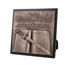 "THE WORD OF GOD, Sword & Bible, 3D Relief Bronze Finish, 8.75"" x 8.75"""