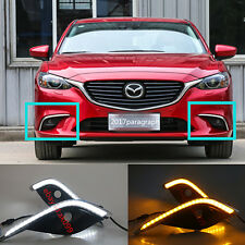 For Mazda 6 Atenza M6 DRL Fog 2017 2x With Turn Signal LED Daytime Running Light