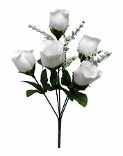5 White Roses Buds Silk Wedding Wrinkle Flowers Bouquets Artificial Fake Faux