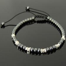 Hematite Mens Braided Bracelet Healing Reiki Root Chakra Stones Handmade Silver