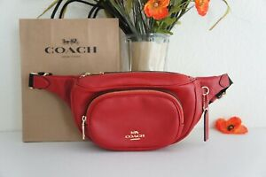 NWT Coach 6488 Court Belt Bag In Pebble Leather 1941 Red $298