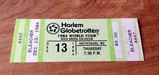 HARLEM GLOBETROTTERS 1984 WORLD TOUR FULL TICKET DECEMBER 13,1984 HATTIESBURG MS