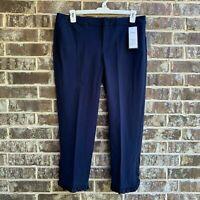 Charter Club Women's Newport Slim Leg Ruffled Cropped Pants Navy Size 14