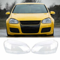 UK 1 Pair Front Headlight Lens Clear Lampshade Plastic For VW Golf MK5 2005-2009