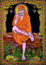 Om Sai Ram Wall Hanging Sequin Work Poster Tapestry Home Decor Lord Throw Art