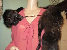 Original Vintage 1930's 1940's Vintage Silver Fox Fur Stole Wrap Lush Coat