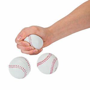 Set of 12 ~ Baseball Stress Balls ~ School Spirit ~ 12 White / Red Baseballs