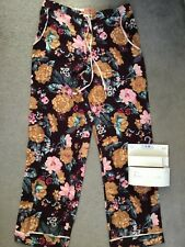 M&S LOUNGE PANT IN BURGUNDY FLANEL FABRIC WITH FLORAL PRINT & TIE - SIZE 8 BNWT