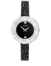 SEKSY LADIES BLACK SWAROVSKI CRYSTAL FINE ROCKS WATCH MODEL 2621.37 RRP £79.99