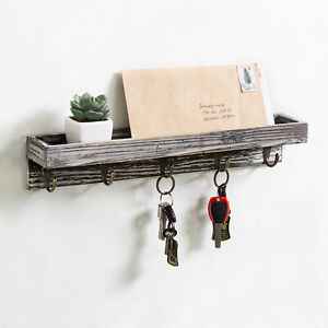 16-Inch Rustic Torched Wood Wall-Mounted Entryway Floating Shelf and 5 Key Hooks