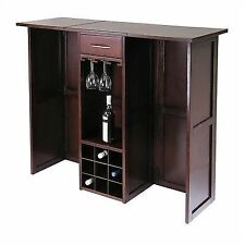 Delightful Winsome Newport Wine Bar Expandable Counter In Antique Walnut 94350