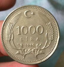 1990 Turki 1000 Lira  Coin  ! very extra fine details !