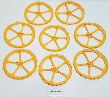 """8 NEW K'NEX Large Big Yellow Gears 5"""" Crown Socket Ferris Replacement Parts KNEX"""