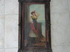 Old painting on canvas beautiful woman, signed