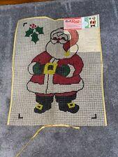 New listing Latch Hook Rug Canvas Smiling Santa Bucilla Vtg rug Wall Hanging 20x27 No. 370