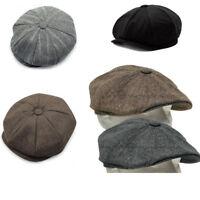 Mens lvy Flat Tweed Herringbone Newsboy Cap Baker Boy Hat Gatsby Peaky Blinders!