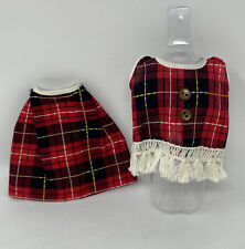 Vintage Miss Nancy Ann Doll Red Black Plaid Skirt & Fringe Top Barbie Clone ?