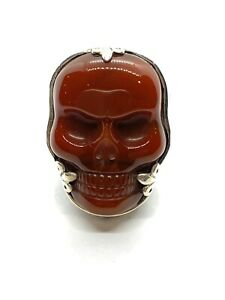 King Baby Studio classic Skull Ring red agate silver .925 size 10